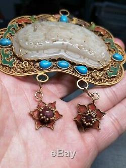 Chinese silver gilt pendant Ming&Qing inlaid jade&Gem Kiln&sons jade token