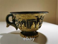 Chinese silver gold inlaid cup figure&horses veins dynasty cup