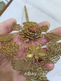 Chinese silver hairpin Ming dy gilt silver head decor Tree pattern inlaid gem