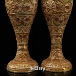 Collect Chinese pure copper gilt silvering Cloisonne carved Flower Vase A pair