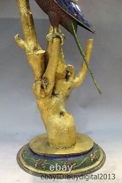 Costful 29Chinese Bronze 24K Gold Silver jade Gem bluestone Carved Bird Statue