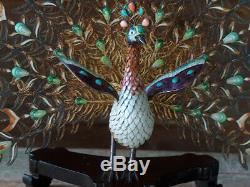 ESTATE Antique CHINESE GILT STERLING SILVER FILIGREE & ENAMEL PEACOCK on STAND
