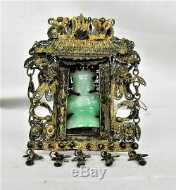 Early 1900s Chinese Gold on Sterling Silver Shrine with Apple Green Jadeite Buddha