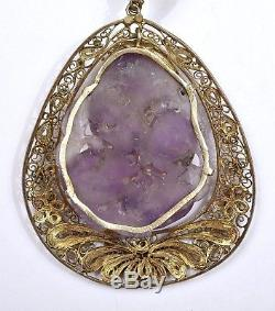 Early 20C Chinese Amethyst Quartz Carved Carving Gilt Sterling Silver Necklace