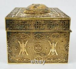 Early 20th Century Chinese Gold Gilt Silver Carved Tiger's Eye Box
