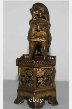 Early Chinese Gilt Silver Or Metal Foo Lion Of Wealth Jewelry Store