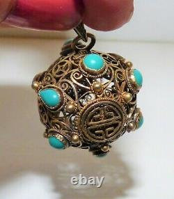 Edwardian Chinese Export Gilded Silver Ball Pendant Turquoise Cabochon Filigree