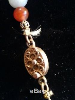Estate Antique Chinese Jade & cloisonne gilt silver lock necklace
