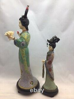 Estate LOT 2 Antique Vintage Chinese Cloisonné Figure Carved gilt Silver Enamel