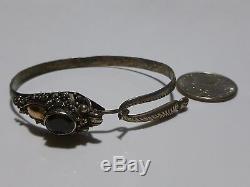 Estate Oriental Chinese Sterling Silver 18k Gold & Garnet Dragon Bangle Bracelet