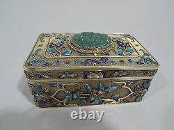 Export Box Antique Asian Filigree Chinese Silver Gilt Enamel Jade C 1910