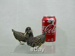 FINE CHINESE EXPORT SILVER GILT ENAMEL FIGURINE pair DUCK BIRDS China Sterling