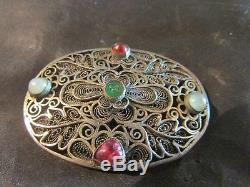 Fabulous Antique Rare Chinese Silver Gilt & Gemstone Brooch