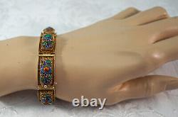Filigree & Cloisonne Chinese Bracelet Flower & Bee Vermeil Gold over Silver