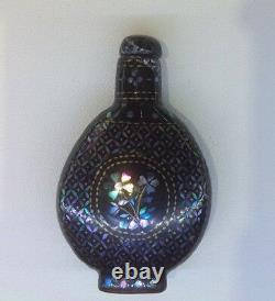 Fine 19 C Antique Chinese Qing Lacquer Silver Gold Mop Inlaid Snuff Bottle 1