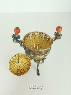 Fine Antique Chinese Gilt SIlver Enamel Filigree Censer Incense Burner Carnelian