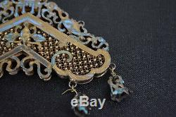 Fine Antique Chinese Qing Dynasty Gilt Silver Kingfisher Feather Chime