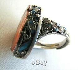 Fine CHINESE Gilt Silver CARNELIAN & ENAMEL RING-Adjustable Size 9.5