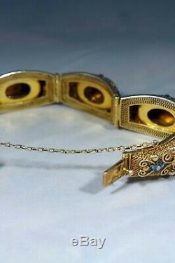 Fine Chinese Gilt Silver Filigree Enamel & Tiger Eye Stones Bracelet B493