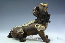 Fine Chinese beautiful Bronze Gilt silver unicorn