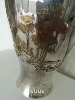 Fine Large Pair Of Twin Handled Silver/Chrome Oriental Vase's, Gilt Decoration