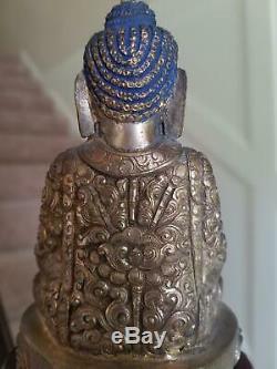 Fine Rare Antique Chinese Sino Tibetan Parcel Gilt Bronze Silver Buddha 18/19th