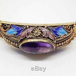 Fine Vintage Chinese Gilt Silver Filigree & Amethyst Enamel Work Bracelet with Box