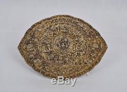 Fine antique Straits Chinese gilt silver repoussé belt buckle, pending