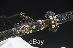 Fish skin Tang Dao copper carving gold silver hundred practice torsional blade