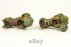 Four Chinese Gilt Silver Wire Filigree Enamel Mini Foo Lions Dogs Ball Figurines