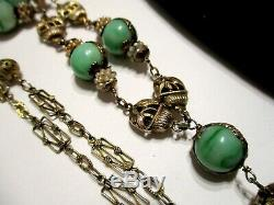GORGEOUS Antique CHINESE JADEITE JADE Gilt Silver LOTUS CARVED PENDANT NECKLACE