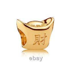 Genuine PANDORA Chinese Silver Ingot Charm 14K Gold Vermeil Plated 791300