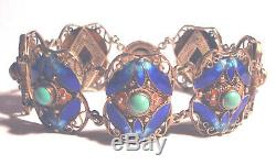 Gilt ANTIQUE Chinese 800 Silver CLOISONNE ENAMEL/Turquoise FILIGREE BRACELET