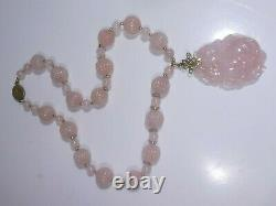 Gorgeous Chinese Carved Rose Quartz Necklace With 14k Gold & Sterling Silver