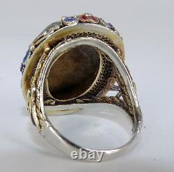 Gorgeous Chinese Cinnabar Enamel Gilt Sterling Silver Gold Wash Ring Repairs