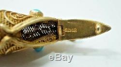 H34 Vintage Chinese Export 800 Gilt Silver Koi Fish Vinaigrette Pendant 2 Inch