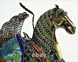 Handmade Chinese Republic Sterling Silver Gold Wash Enamel Filigree Winged Horse