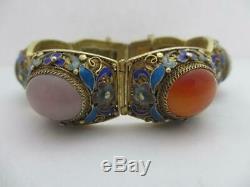 Jade Carnelian Enamel Sterling Silver Gilt Vintage Chinese Bracelet. Tbj07838