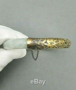 Jade Silver Bracelet Chinese Bangle Vintage Antique Jadeite Fish Gilt Vermeil