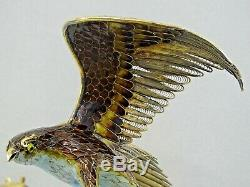 LARGE CHINESE EXPORT SILVER GILT ENAMEL STATUE EAGLE SQUIRREL FIGURINE China