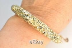 LG Wrist Vintage Chinese Gold / Sterling Silver Apple Green Jade Bangle Bracelet