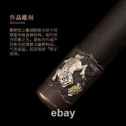 Lion Play Ball TaiChi Sword pattern steel Ridged Gold/Silver-plating Fittings018