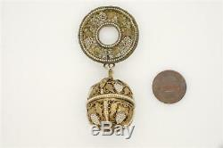 Lovely Antique Chinese Silver Gilt & Seed Pearl Filigree Fruit Pomander Brooch