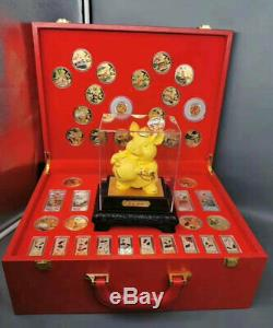 New 2020 Chinese Zodiac Jade 24K Gold Silver Plated Coins Set Year of the Rat