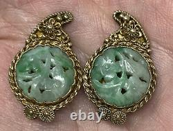 Nice Vintage Old Chinese Export Sterling Silver Gilt Carved Jade Clip Earrings