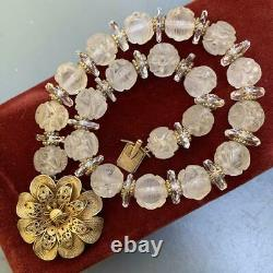 Old Art Deco Gold Gilt Filigree Silver Chinese Carved Rock Shou Crystal Necklace