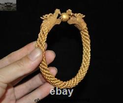Old Chinese Dynasty Palace Tibetan Silver 24K Gold Dragon bangle Royal bracelet