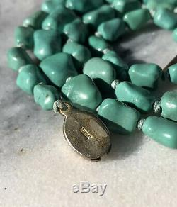 Old Chinese Export Natural Persian Turquoise Bead & Gilt Silver Necklace 25.5