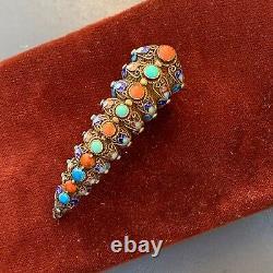 Old Chinese Fingernail Guard Gold Gilt Silver Filigree Coral Pin Brooch