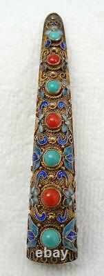 Old Chinese Gilt Filigree Silver, Enamel, Coral & Turquoise Finger Guard Brooch